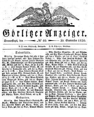 Görlitzer Anzeiger vom 30.09.1830