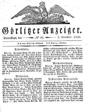 Görlitzer Anzeiger vom 07.10.1830