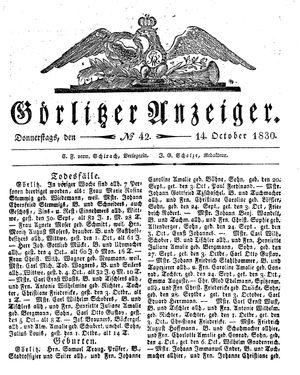 Görlitzer Anzeiger vom 14.10.1830