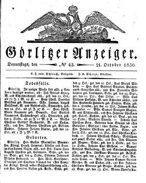 Görlitzer Anzeiger vom 21.10.1830