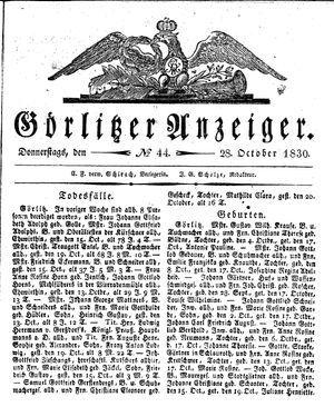 Görlitzer Anzeiger vom 28.10.1830