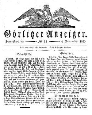 Görlitzer Anzeiger vom 04.11.1830