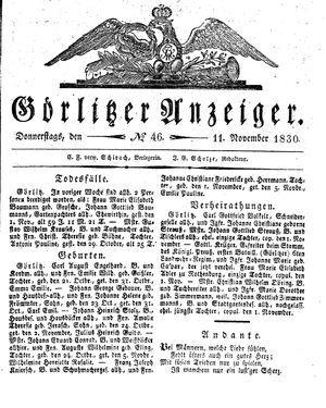 Görlitzer Anzeiger vom 11.11.1830