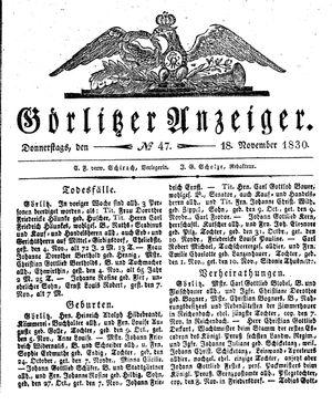 Görlitzer Anzeiger vom 18.11.1830