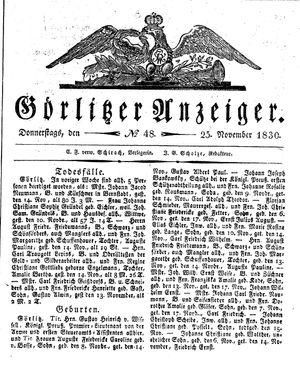 Görlitzer Anzeiger vom 25.11.1830