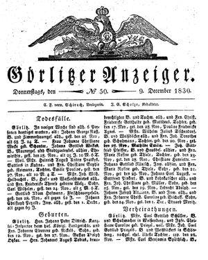 Görlitzer Anzeiger vom 09.12.1830