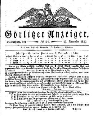 Görlitzer Anzeiger vom 16.12.1830