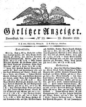 Görlitzer Anzeiger vom 23.12.1830