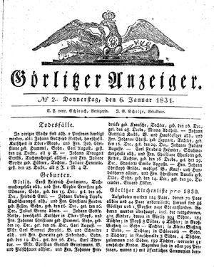 Görlitzer Anzeiger vom 06.01.1831