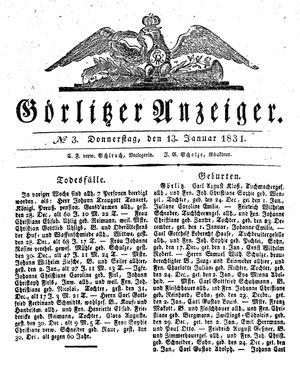 Görlitzer Anzeiger vom 13.01.1831