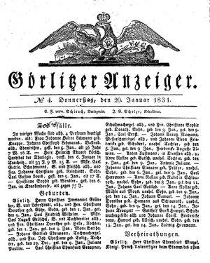 Görlitzer Anzeiger vom 20.01.1831