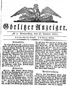 Görlitzer Anzeiger vom 27.01.1831
