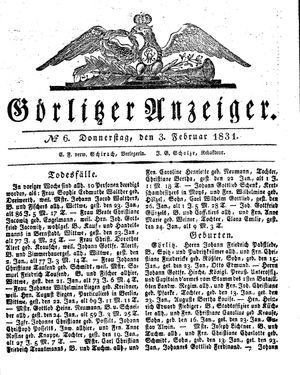 Görlitzer Anzeiger vom 03.02.1831
