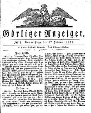 Görlitzer Anzeiger vom 17.02.1831