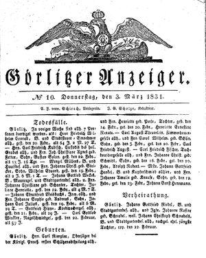 Görlitzer Anzeiger vom 03.03.1831