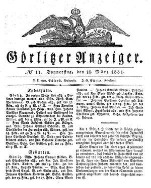 Görlitzer Anzeiger vom 10.03.1831