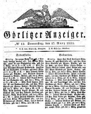 Görlitzer Anzeiger vom 17.03.1831