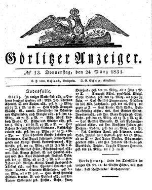Görlitzer Anzeiger vom 24.03.1831