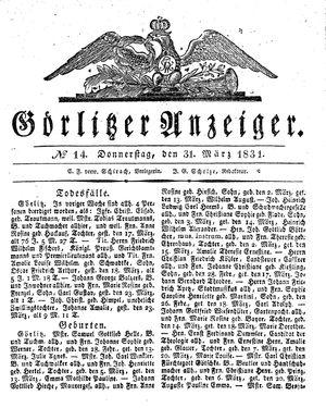 Görlitzer Anzeiger vom 31.03.1831