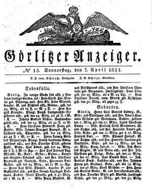 Görlitzer Anzeiger on Apr 7, 1831