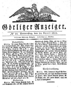 Görlitzer Anzeiger vom 14.04.1831