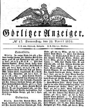 Görlitzer Anzeiger vom 21.04.1831