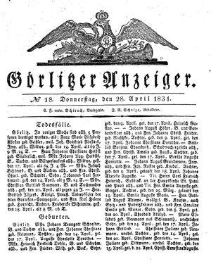 Görlitzer Anzeiger vom 28.04.1831