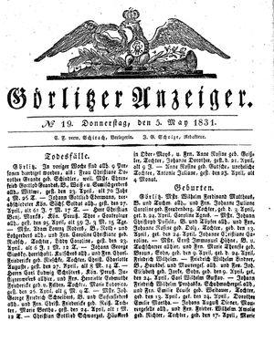Görlitzer Anzeiger vom 05.05.1831
