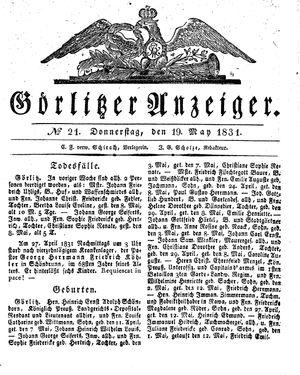 Görlitzer Anzeiger vom 19.05.1831