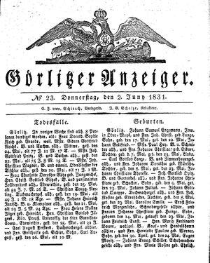 Görlitzer Anzeiger vom 02.06.1831
