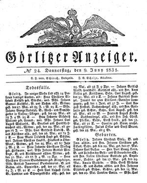 Görlitzer Anzeiger vom 09.06.1831