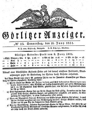 Görlitzer Anzeiger on Jun 16, 1831