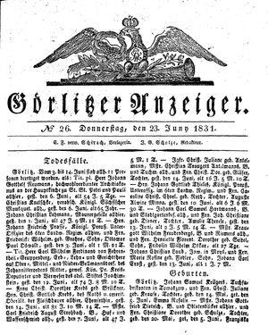 Görlitzer Anzeiger vom 23.06.1831