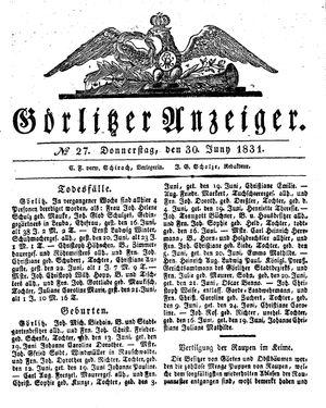 Görlitzer Anzeiger vom 30.06.1831