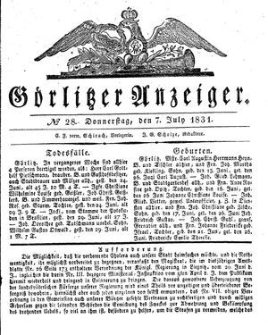 Görlitzer Anzeiger vom 07.07.1831