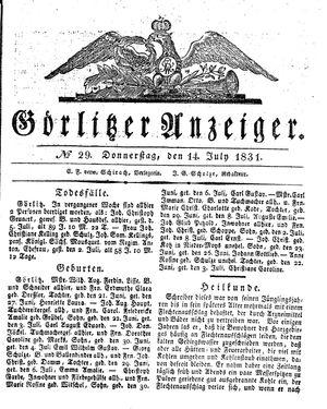 Görlitzer Anzeiger vom 14.07.1831