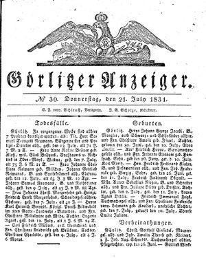 Görlitzer Anzeiger vom 21.07.1831