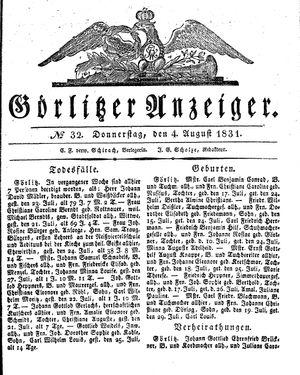Görlitzer Anzeiger on Aug 4, 1831