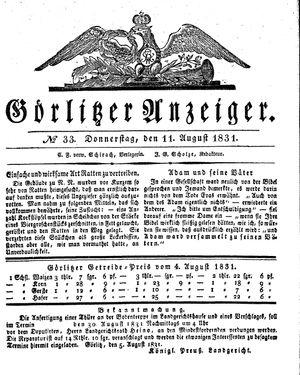 Görlitzer Anzeiger vom 11.08.1831