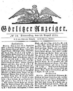 Görlitzer Anzeiger vom 18.08.1831