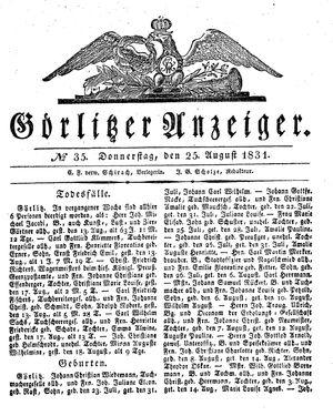 Görlitzer Anzeiger vom 25.08.1831