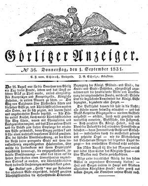 Görlitzer Anzeiger vom 01.09.1831
