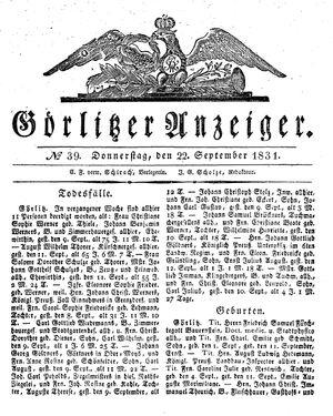 Görlitzer Anzeiger vom 22.09.1831