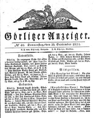 Görlitzer Anzeiger vom 29.09.1831