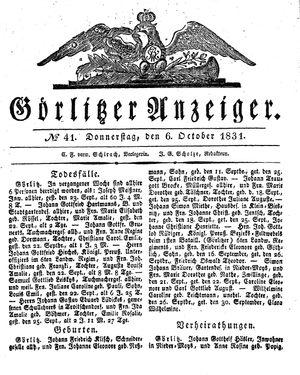 Görlitzer Anzeiger vom 06.10.1831