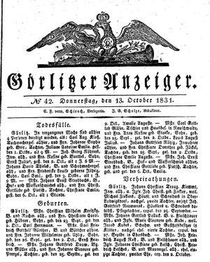 Görlitzer Anzeiger on Oct 13, 1831