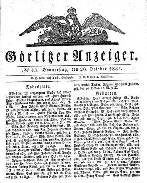 Görlitzer Anzeiger vom 20.10.1831