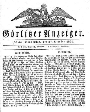 Görlitzer Anzeiger on Oct 27, 1831