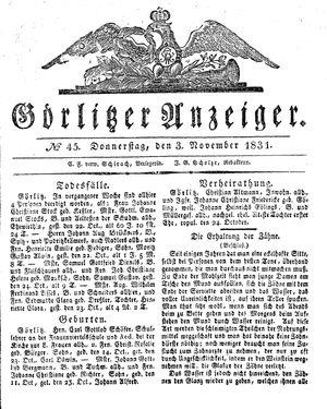 Görlitzer Anzeiger vom 03.11.1831