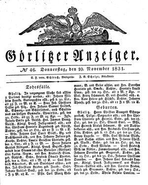 Görlitzer Anzeiger vom 10.11.1831